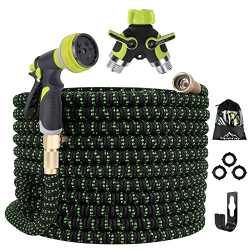 Gpeng Expandable Garden Hose 50ft Water Hose with 8 Function Spray Nozzle, Kink Free Flexible Hose with Solid Brass Fittings, Extra Strength Durable Lightweight Expanding Yard Hose Wash Hose Pipe