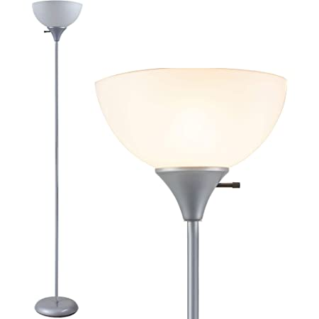 Co Z Modern Torchiere Floor Lamp For Living Room 71 Minimalism Silver Pole Standing Lamp White Plastic Shade Uplight With Led Bulb