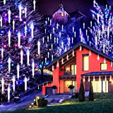 Jltech Meteor Shower Lights,Falling Rain Lights Waterproof,Icicle Snow String Cascading Lights with 11.8inch 8 Tubes, Christmas Lights for Garden Decoration, Party Wedding(white)