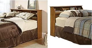 Sauder Orchard Hills Bookcase Headboard, Full/Queen, Carolina Oak Finish + Sauder Shoal Creek Oiled Oak Headboard, Full/Queen_Bundle