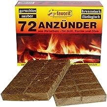 Favorit Anzünder für Grill, Kamin Echtholz und Wachs, besonders brennstark, Brenndauer ca. 8 -10 Minuten 72 Stück - 1828