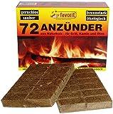Favorit Anzünder für Grill, Kamin; Echtholz und Wachs, besonders brennstark, Brenndauer ca. 8 -10 Minuten; 72 Stück - 1828