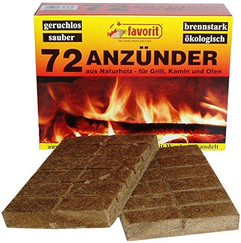 Favorit aanmaakblokjes voor grill, open haard; echt hout en was, bijzonder brandsterk, brandduur ca. 8-10 minuten; 72 stuks - 1828