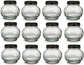 Nakpunar 12 pcs 8 oz Round Faceted Glass Jars with Black Lids - Canning, Preserving (8 oz, Black)