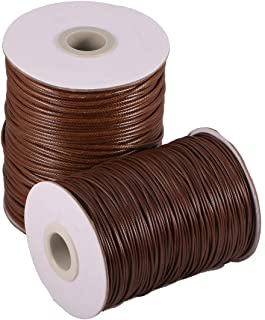 Waxed Cotton Cord Thread Crafts for Jewelry Making Beading Crafting 1 mm (Brown)