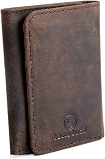 Bacca Bucci® RFID Blocking Trifold (Three fold) Wallet for Men Genuine Rustic Finish Leather-Brownish