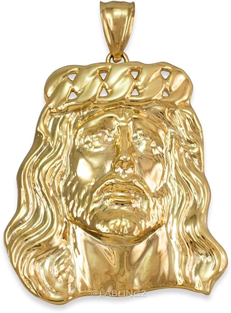 Religious Jewelry by LABLINGZ 14K Yellow Gold Jesus Face Cuban Link Crown Pendant