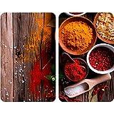 WENKO 2521467100 Protège-plaque universel Epices - lot de 2, pour tous les types de cuisinières, Verre trempé, 30 x 52 x 4 cm, Multicolore