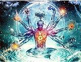 Pintar por Numeros Yoga Buda pensando en el universo DIY Cuadro al óleo con números para Kit de Pintura al óleo Digital para Adultos y niños de Lienzo decoración para el hogar 40x50cm Sin Marco