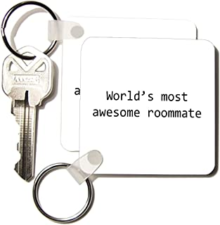 3dRose Worlds Most Awesome Roommate Key Chains, Set of 2 (kc_195413_1)