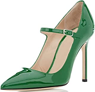 Sammitop Women's Pointed Toe Mary Jane Pumps High Heel Shoe with Ankle Strap