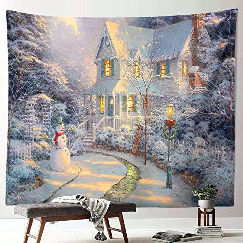 Nueva escena de nieve navideña tapiz decoración año nuevo tela arte colgante pintura pared colgante tela de fondo A9 73x95 cm