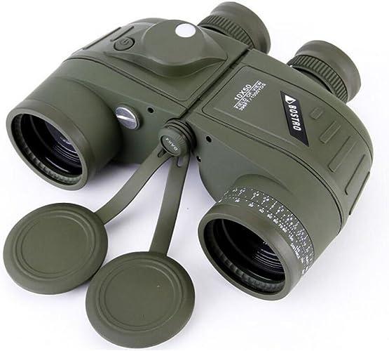 LXY Navigation Haute Définition Haute Puissance 10X50 avec Boussole avec Boussole Télémétrique Basse Vision Nocturne Télescope Télescope