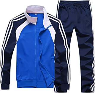 Men's Athletic Running Tracksuit Set Casual Full Zip Jogging Sweat Suit