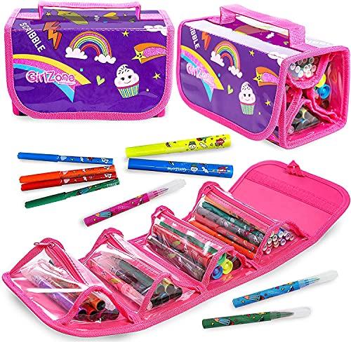 GirlZone Regalos para Niñas - Estuche Enrollable Rotuladores - Estuche Enrollable - 38 Rotuladores Perfumados - Scented Pens - Set de Papelería para Chicas 4 5 6 7 8 9 10 11 Años