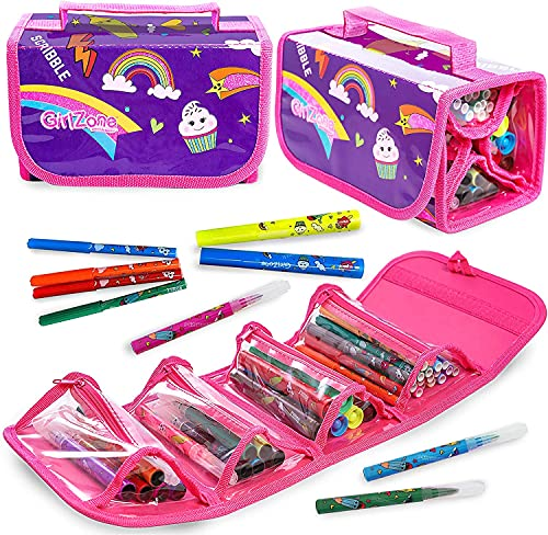 GirlZone Arts and Crafts Fruit Scented Markers and Pencil Case for Girls,...