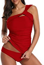 Tempt Me Women Tankini Ruched One Shoulder Tummy Control Top High Neck Swimsuits
