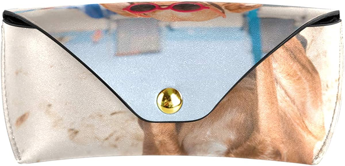 Office PU Leather Portable Dog At The Beach Goggles Bag Multiuse Sunglasses Case Eyeglasses Pouch