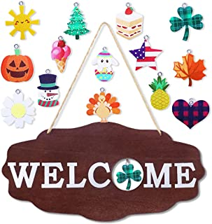 Hooqict Interchangeable Seasonal Welcome Sign Rustic Wood Wall Hanging Welcome Sign for Front Door Home Holiday Halloween ...
