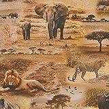 Hans-Textil-Shop Stoff Meterware Safari Afrika Tiere