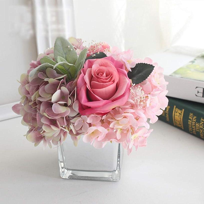 JYEMDV Rose Hydrangea Artificial Flower Proportioning Bottle Set Combination Desktop Decoration Silk Cloth Simulation