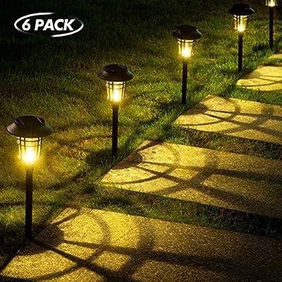 LeiDrail Solar Pathway Lights Outdoor Super Bright High Lumens Garden Path Light Glass Metal Waterproof Warm White LED Landscape Lighting Decorative for Yard Patio Lawn Walkway - 6 Pack