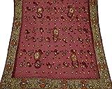 Vintage Indien Dupatta Longue écharpe Net Main perlée Tissu Maroon Veil Stole Hijab