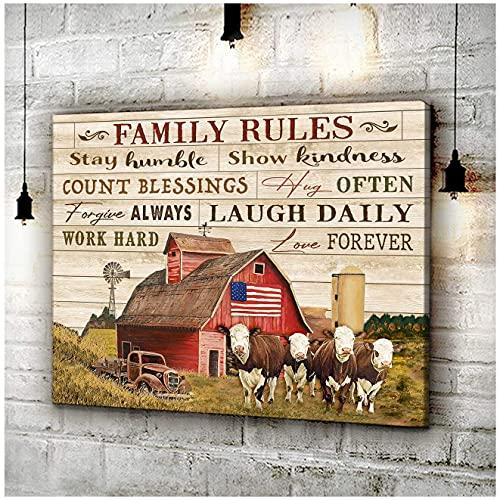 Cuadros de lona para reglas familiares, listas para colgar en casa, oficina, hotel, decoración de pared, 40 x 60 cm