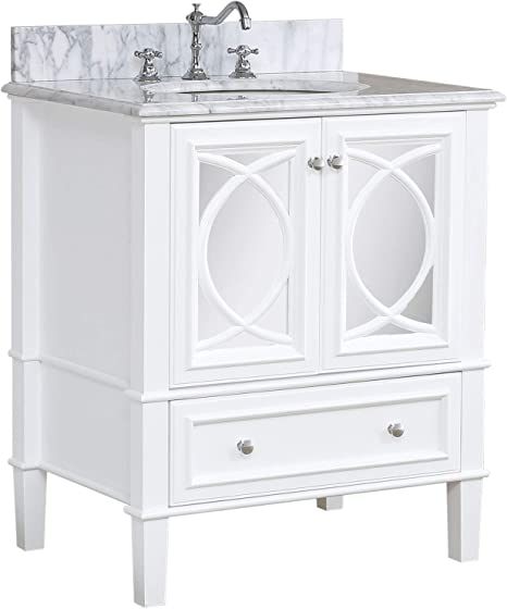 Amazon Com Olivia 30 Inch Bathroom Vanity Carrara White Includes White Cabinet With Authentic Italian Carrara Marble Countertop And White Ceramic Sink Kitchen Dining
