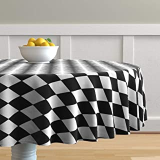 Roostery Round Tablecloth, Harlequin Diamond Black White B&W Geometric Check Print, Cotton Sateen Tablecloth, 90in