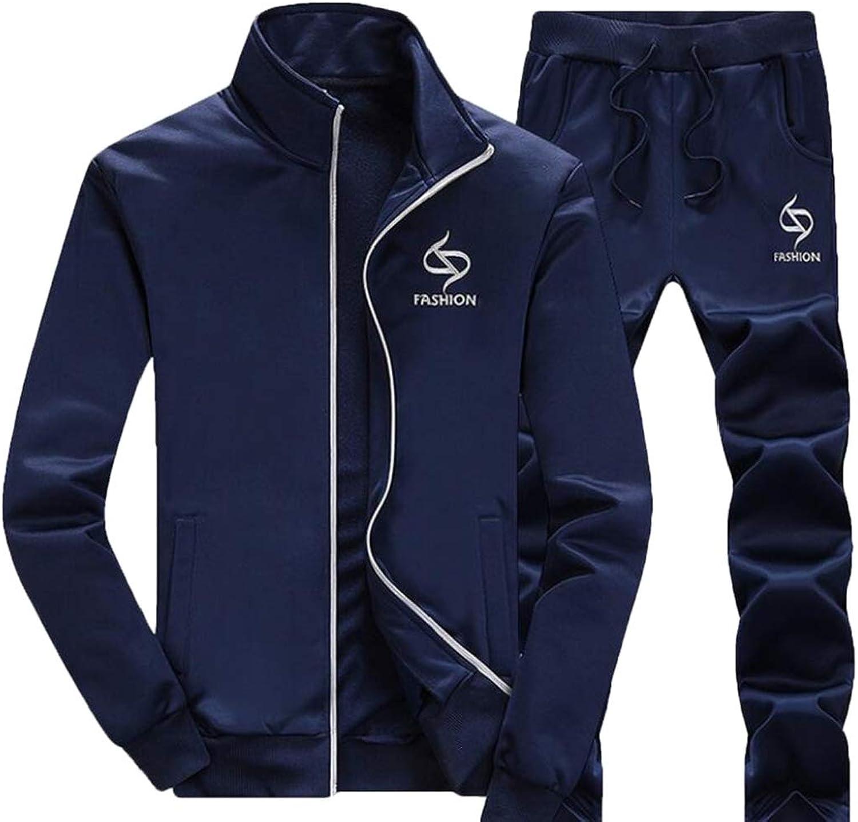 Zantt Mens Stand Collar Jacket Two Pieces Sport Pants Tracksuit Sweatsuit Dark bluee 2XL