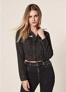 Jaqueta Jeans Cropped Recortes Vazados