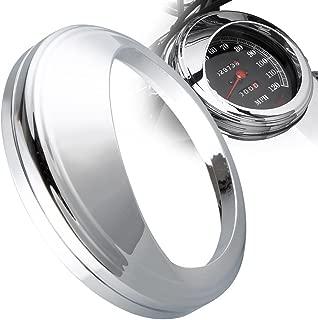 KiWAV for 5 inch Speedometer Gauge Tank Mounted Cover Trim Ring Bezel Aluminum Visor Style Chrome for Harley-Davidson