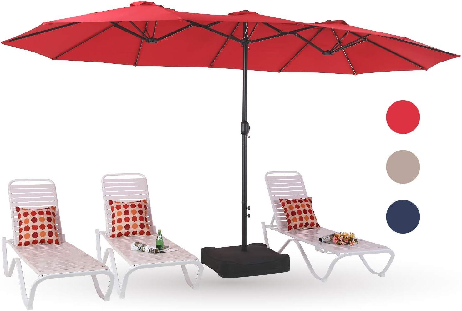 PHI VILLA Atlanta Mall 15ft Patio Umbrella Double-Sided Outdoor Tampa Mall Market Extra