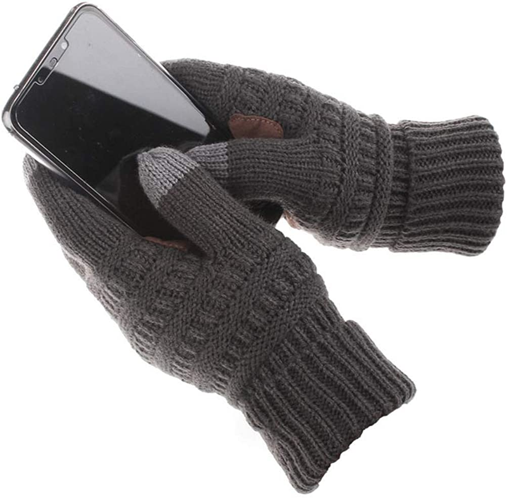 Bevogue Unisex Cable Knit Touch Screen Gloves Ribbed Warm Winter Anti-Slip Stretch Gloves for Cold Weather Smart Texting
