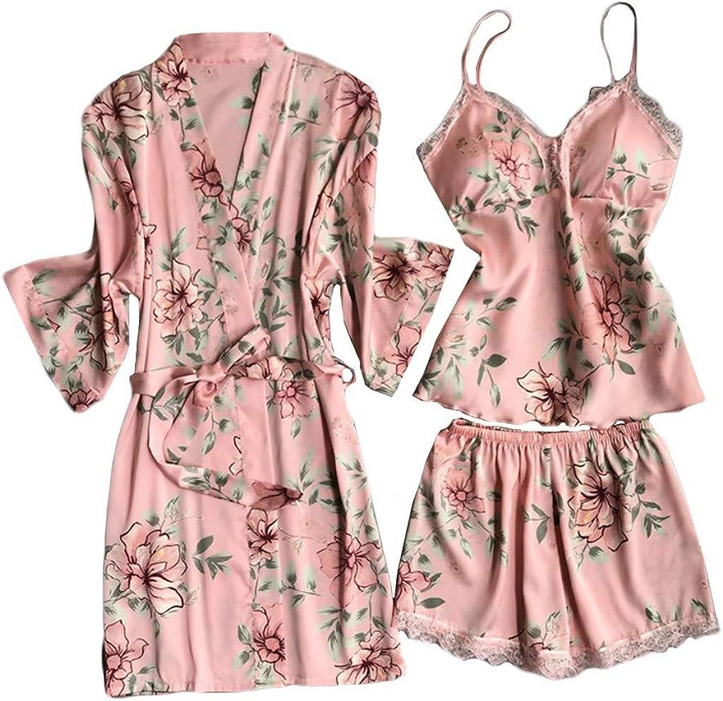 Hotkey Womens Lingerie Sexy Silk Satin Pajamas Set 3PCS Nightgown Cami Top Shorts Underwear Robe Sets Teddy Sleepwear