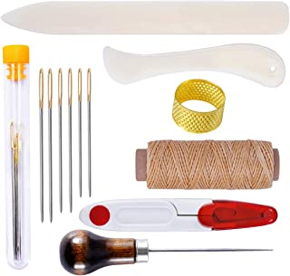 Bookbinding Tool Kit 13 Pieces Starter Tools Set Bone Folder Paper Creaser, Waxed Thread, Awl, Large-Eye Needles for DIY Bookbinding Crafts and Sewing Supplies