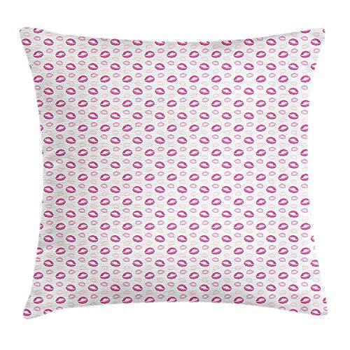 Kus gooien kussen kussensloop, Grunge kijken lippenstift Prints cosmetica make-up romantische Valentijnsdag, decoratieve vierkante Accent kussensloop, 18 X 18 inch, roze lichtroze bleke perzik