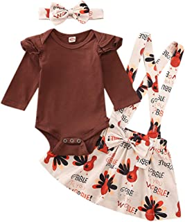 Newborn Baby Girl Thanksgiving Outfit Solid Ruffle Long Sleeve Romper Top+Turkey Suspender Skirt+Headband 3PCS Clothes