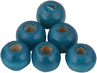 Sala 200 Pieces 10mm Round Wood Beads 15 Colores Wooden Beads for DIY Jewelry Making (2#-Turquoise Blue)
