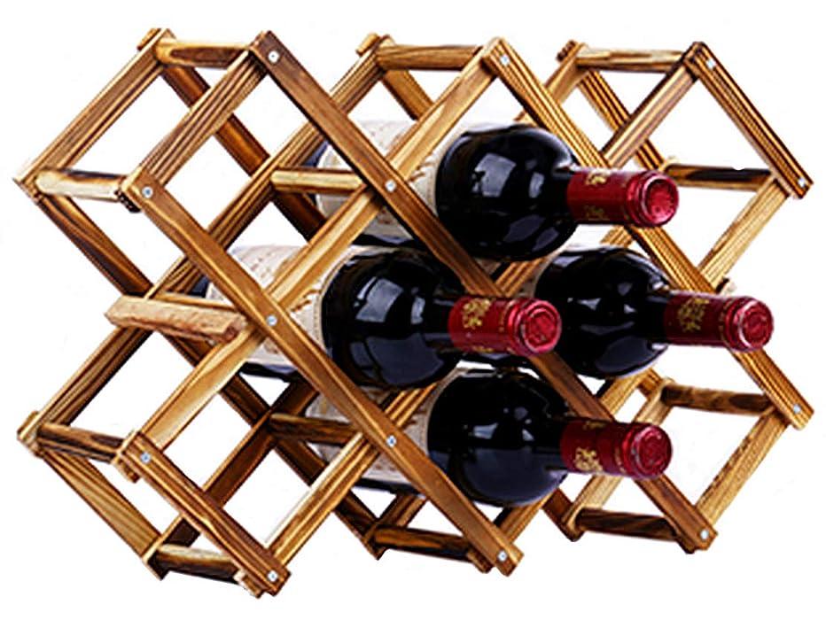 ラバデッドロック繊維W14 選べるサイズ 折りたたみ式 ワインラック 木製 ビンテージ ホルダー ワイン シャンパン ボトル ウッド 収納 ケース スタンド インテリア ディスプレイ (10本収納)