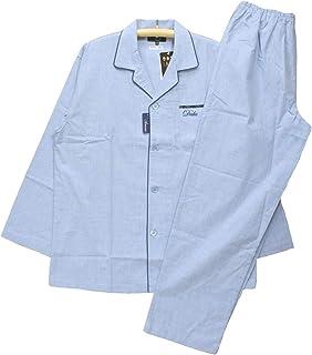 [Lサイズ] メンズパジャマ 春夏向き 長袖 長スボン DAKS ダックス 日本製 綿100% シャンブレー 前開き