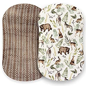 Pobibaby – 2 Pack Premium Bassinet Sheets for Standard Bassinets – Ultra-Soft Cotton Blend, Stylish Woodland Pattern, Safe and Snug for Baby (Wildlife)