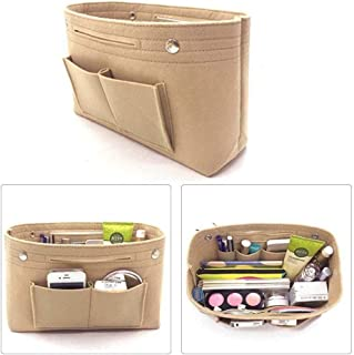 eujiancai Toiletry Wash Bag, Felt Handbag Organizer Multi-pockets Storage Bag Cosmetic Bag, Felt Tote Purse, Bag in Bag for Casual Travel Makeup Insert Bag Cosmetic Pouch (Beige)