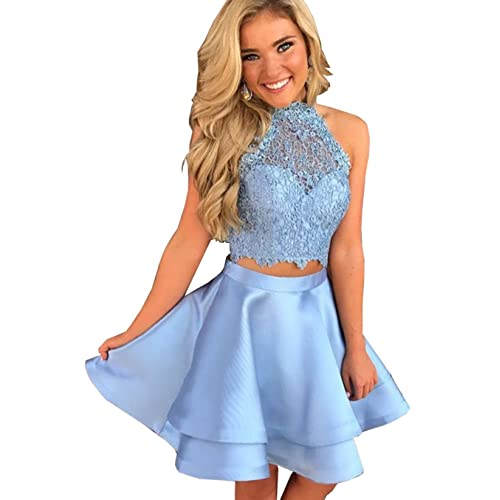 b0b0ce574933 Halter High Neck Prom Homecoming Dresses Short Lace 2 Pieces Party Gowns  BRL01