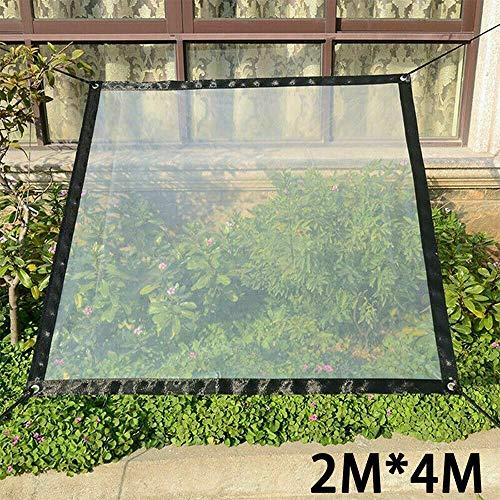 Wasserdichte transparente Plane mit Ösen Vordächer und Planen strapazi, Seil enthalten (2 * 4M)