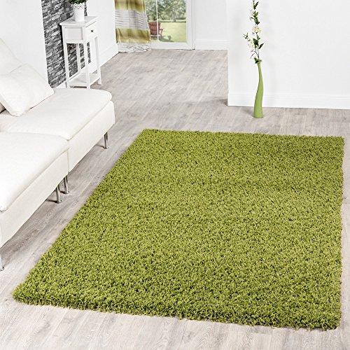 T&T Design Alfombra Shaggy Pelo Largo Moderna Monocolor En Verde Precio Inmejorable, Größe:140x200 cm