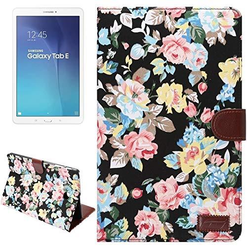 Ebogor para Para Samsung Galaxy Tab E 9.6 / T560 Funda de Billetera, Superficie de Tela de patrón de Flores, Funda de Cuero de Flip Horizontal con Ranuras y Soporte de Tarjeta (Negro)