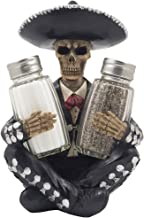Dia de Los Muertos Mariachi Skeleton Salt and Pepper Shaker Set with Decorative Figurine Holder for Day of the Dead Mexica...