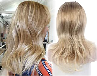STfantasy Ombre Blonde Women Half Wigs Long Curly 3/4 Wig for women Ladies Added More Hair Wedding Style Daily Used
